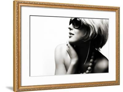 Fashion Woman Portrait Wearing Sunglasses On White Background- alial-Framed Photographic Print
