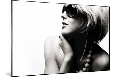 Fashion Woman Portrait Wearing Sunglasses On White Background- alial-Mounted Photographic Print