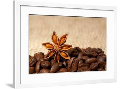 Coffee And Star Anise On Sackcloth Background With Copyspace-wasja-Framed Photographic Print