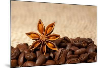 Coffee And Star Anise On Sackcloth Background With Copyspace-wasja-Mounted Photographic Print