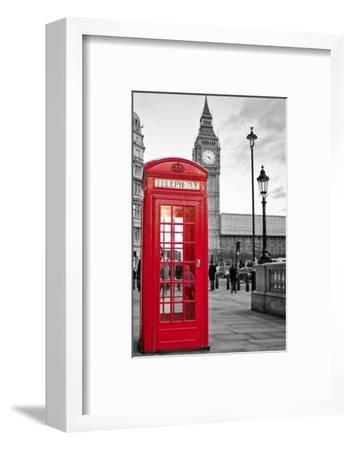 A Traditional Red Phone Booth In London With The Big Ben In A Black And White Background-Kamira-Framed Photographic Print