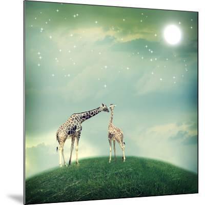 Giraffes In Friendship Or Love Concept Image-Melpomene-Mounted Photographic Print