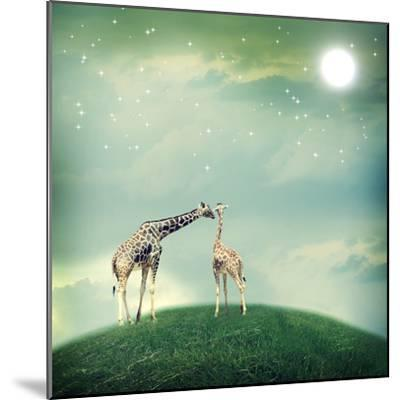 Giraffes In Friendship Or Love Concept Image-Melpomene-Mounted Photographic Print