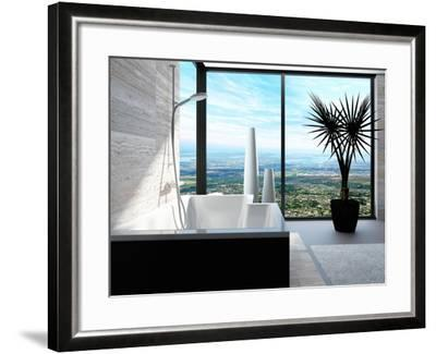 Modern Bathtub in a Bathroom Interior with Floor to Ceiling Windows with Panoramic View-PlusONE-Framed Photographic Print