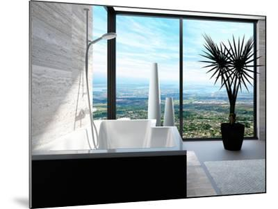 Modern Bathtub in a Bathroom Interior with Floor to Ceiling Windows with Panoramic View-PlusONE-Mounted Photographic Print