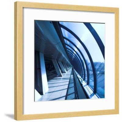 Glass Corridor In Office Centre-babenkodenis-Framed Photographic Print