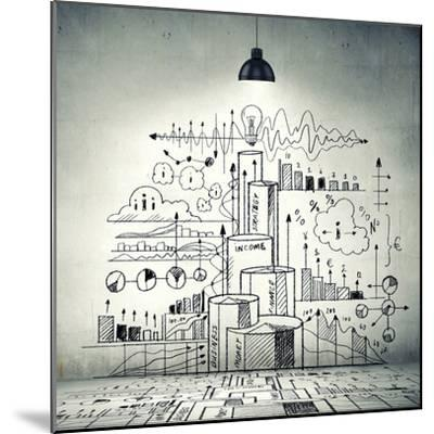 Drawn Business Plan on Wall Illuminated by Lamp-Sergey Nivens-Mounted Photographic Print