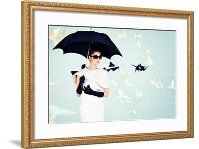 Art Fashion Photo of a Gorgeous Woman in Paper Dress-prometeus-Framed Photographic Print