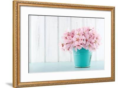 Cherry Blossom Flower Bouquet on Wooden Background-Anna-Mari West-Framed Photographic Print