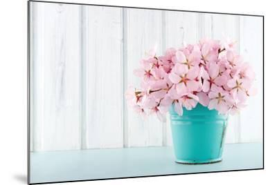 Cherry Blossom Flower Bouquet on Wooden Background-Anna-Mari West-Mounted Photographic Print