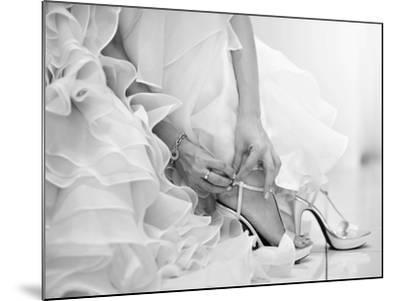 The Bride is Putting on Her Shoes for the Wedding Day-szefei-Mounted Photographic Print