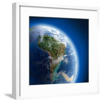 Earth With High Relief, Illuminated By The Sun-Antartis-Framed Photographic Print