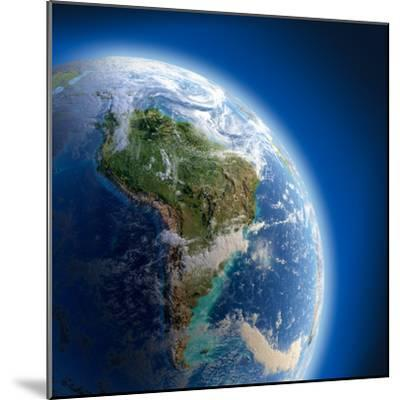 Earth With High Relief, Illuminated By The Sun-Antartis-Mounted Photographic Print