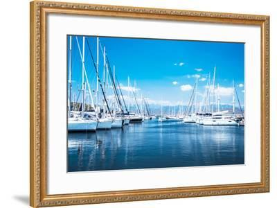 Sailboat Harbor, Many Beautiful Moored Sail Yachts in the Sea Port, Modern Water Transport, Summert-Anna Omelchenko-Framed Photographic Print