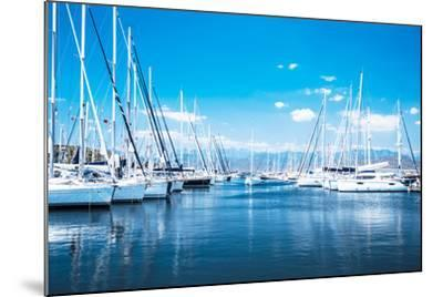 Sailboat Harbor, Many Beautiful Moored Sail Yachts in the Sea Port, Modern Water Transport, Summert-Anna Omelchenko-Mounted Photographic Print