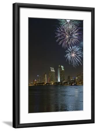 San Diego Bay Fireworks-lpound-Framed Photographic Print