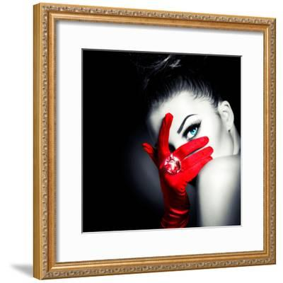 Beauty Fashion Glamorous Model Girl Portrait-Subbotina Anna-Framed Photographic Print
