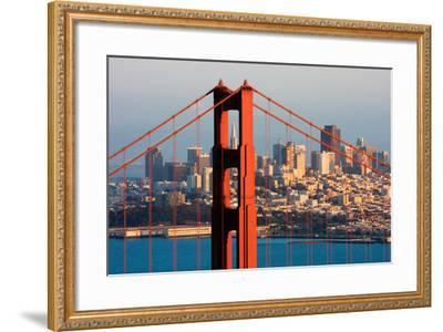 Golden Gate Bridge and Downtown San Francisco at Sunset-Andy777-Framed Photographic Print