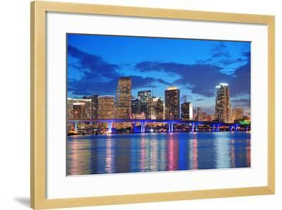 Miami City Skyline Panorama at Dusk with Urban Skyscrapers and Bridge over Sea with Reflection-Songquan Deng-Framed Photographic Print