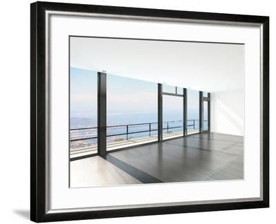 Empty Room Interior with Floor to Ceiling Windows and Scenic View-PlusONE-Framed Photographic Print