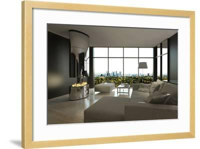 Living Room Interior with Open Fireplace and Floor to Ceiling Windows-PlusONE-Framed Photographic Print
