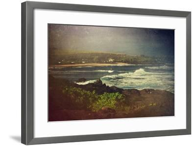 Surfer on a Waverunner in the Water at Hookipa Beach in Maui with the West Maui Mountains-pdb1-Framed Photographic Print