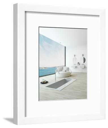 Modern Floor Bathtub Against Huge Window with Seascape View-PlusONE-Framed Photographic Print