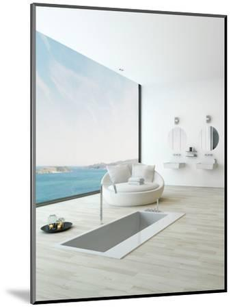Modern Floor Bathtub Against Huge Window with Seascape View-PlusONE-Mounted Photographic Print