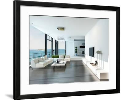Luxury Living Room Interior with White Couch and Seascape View-PlusONE-Framed Photographic Print