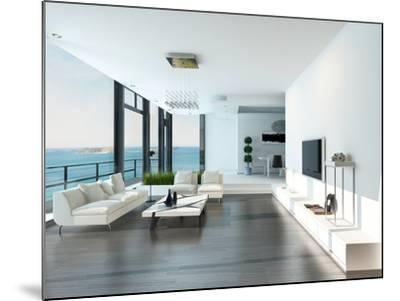 Luxury Living Room Interior with White Couch and Seascape View-PlusONE-Mounted Photographic Print
