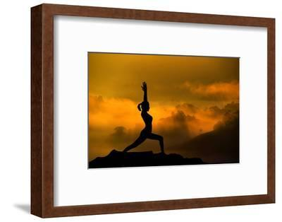 Silhouette of Woman Doing Yoga Meditation During Sunrise with Natural Golden Sunlight on Mountain-szefei-Framed Photographic Print