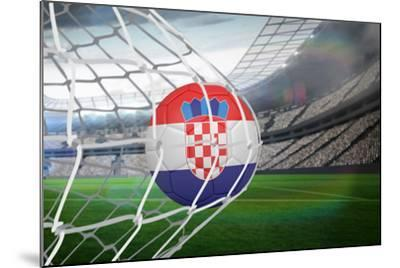Football in Croatia Colours at Back of Net against Large Football Stadium with Lights-Wavebreak Media Ltd-Mounted Photographic Print