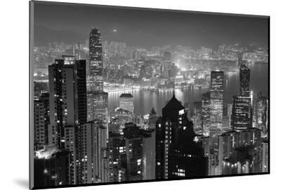 Hong Kong City Skyline at Night with Victoria Harbor and Skyscrapers Illuminated by Lights over Wat-Songquan Deng-Mounted Photographic Print