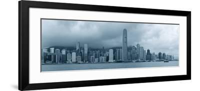Urban Architecture in Hong Kong Victoria Harbor with City Skyline and Cloud in the Day in Black And-Songquan Deng-Framed Photographic Print