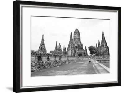 Wat Chaiwatthanaram Temple Black and White Style. Ayutthaya Historical Park, Thailand.-doraclub-Framed Photographic Print