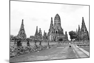 Wat Chaiwatthanaram Temple Black and White Style. Ayutthaya Historical Park, Thailand.-doraclub-Mounted Photographic Print
