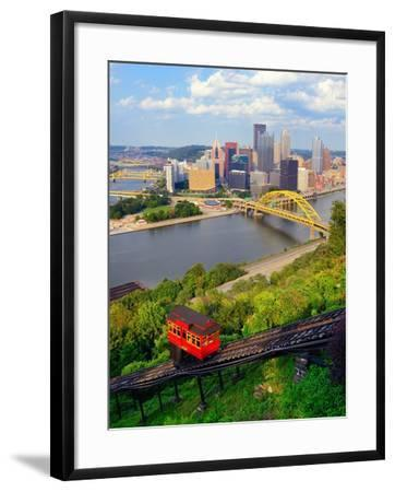 Incline Operating in Front of the Downtown Skyline of Pittsburgh, Pennsylvania, Usa.-SeanPavonePhoto-Framed Photographic Print