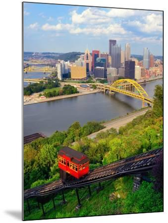 Incline Operating in Front of the Downtown Skyline of Pittsburgh, Pennsylvania, Usa.-SeanPavonePhoto-Mounted Photographic Print