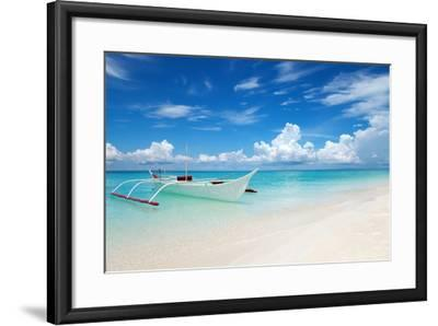 White Boat on A Tropical Beach-and.one-Framed Photographic Print