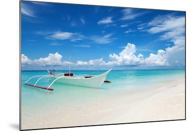 White Boat on A Tropical Beach-and.one-Mounted Photographic Print