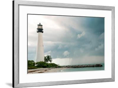 Lighthouse in a Cloudy Day with a Storm Approaching-Santiago Cornejo-Framed Photographic Print