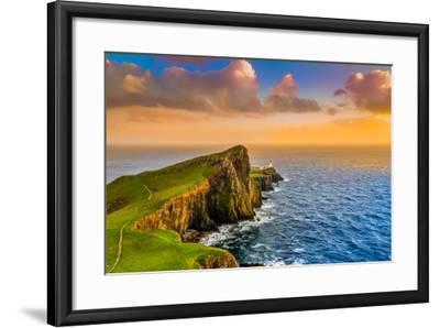 Colorful Ocean Coast Sunset at Neist Point Lighthouse, Scotland-MartinM303-Framed Photographic Print