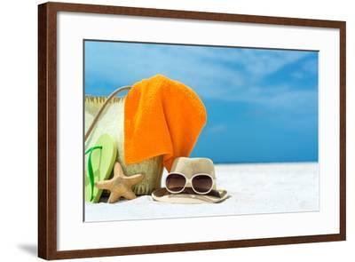 Summer Beach Bag with Coral,Towel and Flip Flops on Sandy Beach-oleggawriloff-Framed Photographic Print