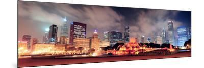 Chicago Skyline Panorama with Skyscrapers and Buckingham Fountain in Grant Park at Night Lit by Col-Songquan Deng-Mounted Photographic Print
