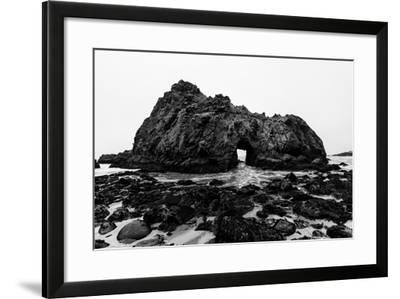 California Pfeiffer Beach in Big Sur State Park Dramatic Black and White Rocks and Waves-holbox-Framed Photographic Print