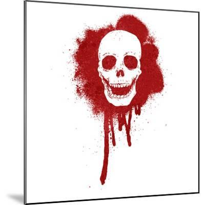 Graffiti Skull Blood Red-lineartestpilot-Mounted Photographic Print