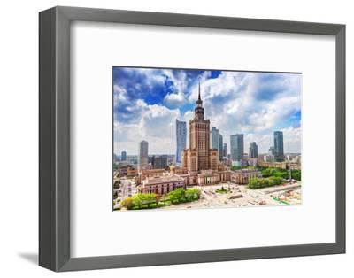 Warsaw, Poland. Aerial View Palace of Culture and Science and Downtown Business Skyscrapers, City C-Michal Bednarek-Framed Photographic Print