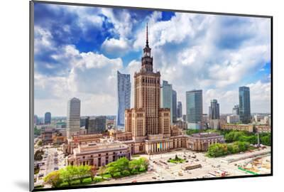 Warsaw, Poland. Aerial View Palace of Culture and Science and Downtown Business Skyscrapers, City C-Michal Bednarek-Mounted Photographic Print