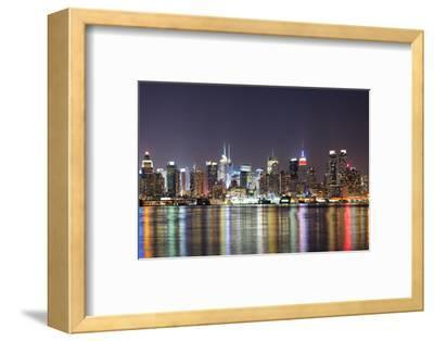 New York City Manhattan Midtown Skyline at Night with Lights Reflection over Hudson River Viewed Fr-Songquan Deng-Framed Photographic Print