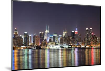 New York City Manhattan Midtown Skyline at Night with Lights Reflection over Hudson River Viewed Fr-Songquan Deng-Mounted Photographic Print